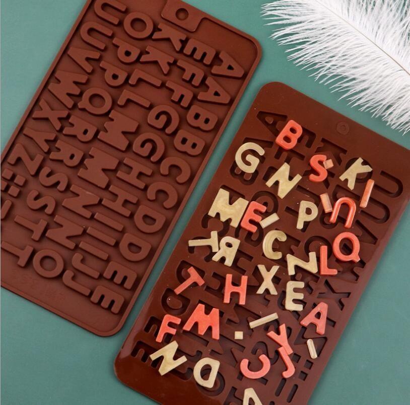 DIY Molde de chocolate Número de letras Molde de silicona Chocolate Flip Durable Suave Caramelo Molde de jalea Herramientas para hornear moldes