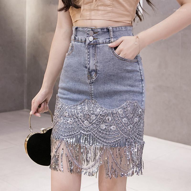 Мода летние джинсы MIDI джинсы женские Женские высокие талии кисточка блестение карандаш джинсовые юбки плюс размер корейской дамы юбка Jupe Femme1
