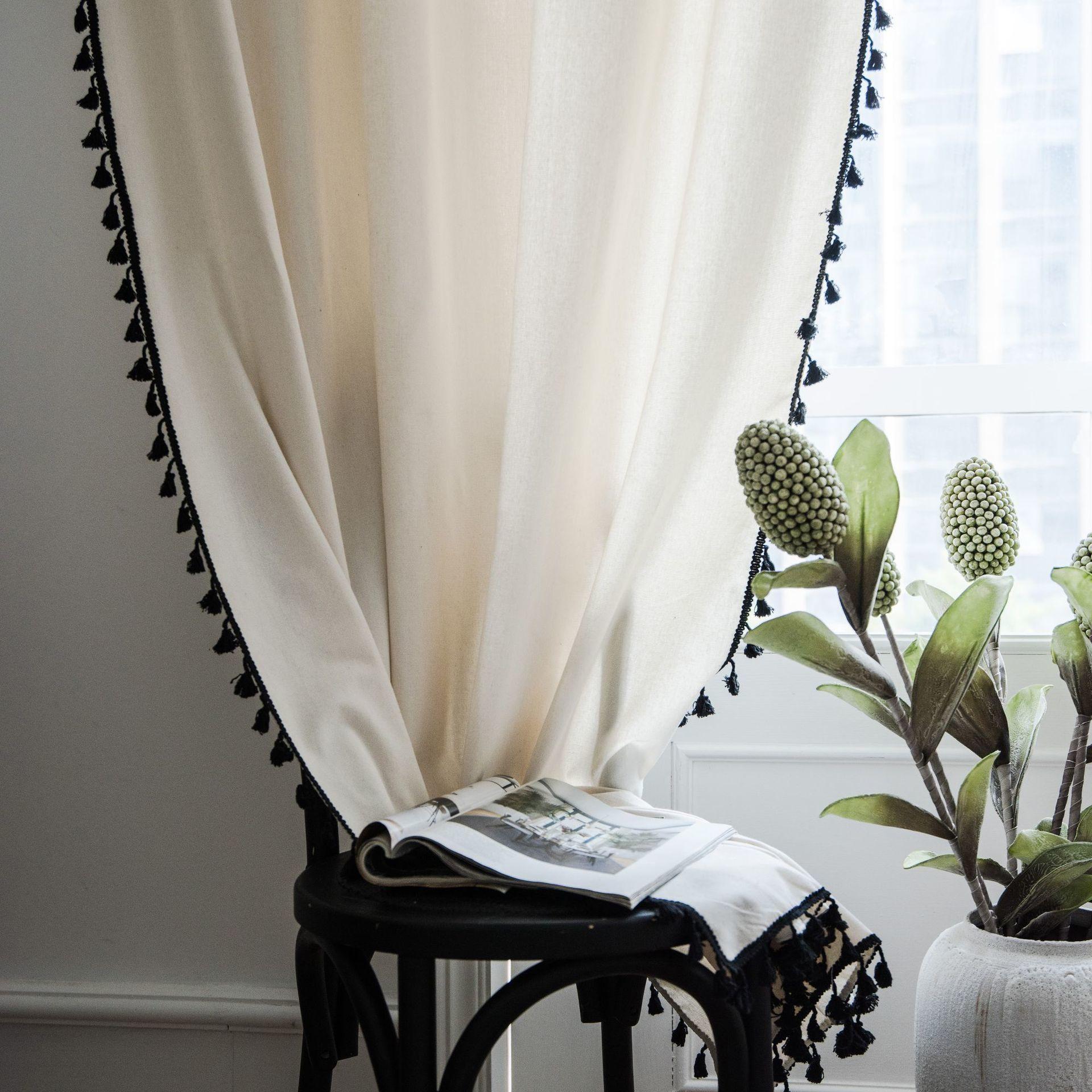 Современная Корея Сплошные белые занавески Черная кисточка для гостиной спальни Windows Хлопок Льняная кухня готовая занавес LJ201224