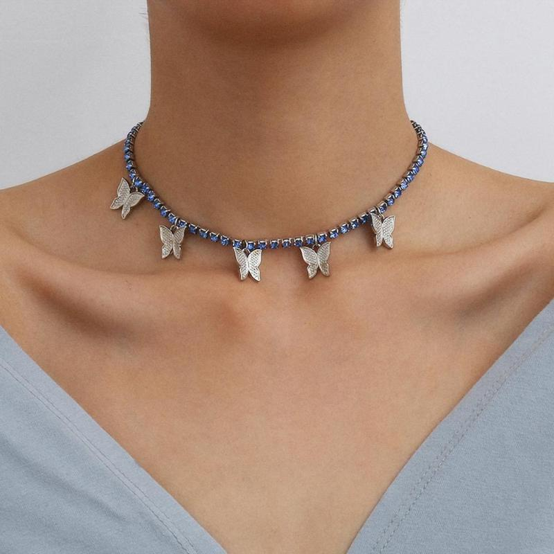 Temperament Super Fairy Ins feng collarbone chain necklace decorated with simple single zircon butterfly necklace female
