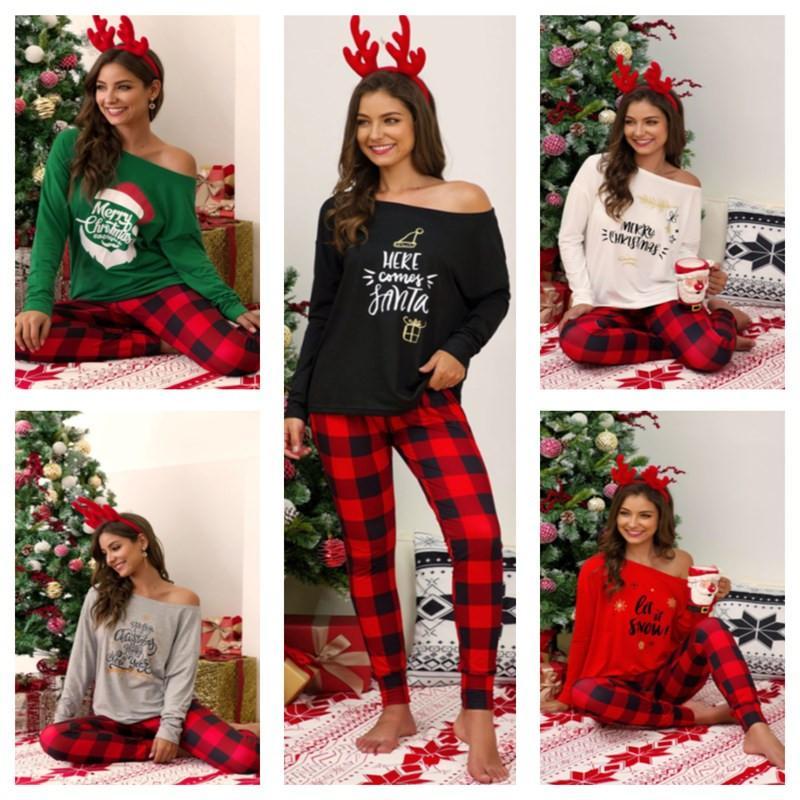 Compre Para Mujer 2 Piezas Conjunto Navidad De La Familia De Pijama A Cuadros De Navidad Diseno Pullover Pantalones Trajes De Ocio De Moda Camiseta Pantalones Legging E110401 Traje A 9 06