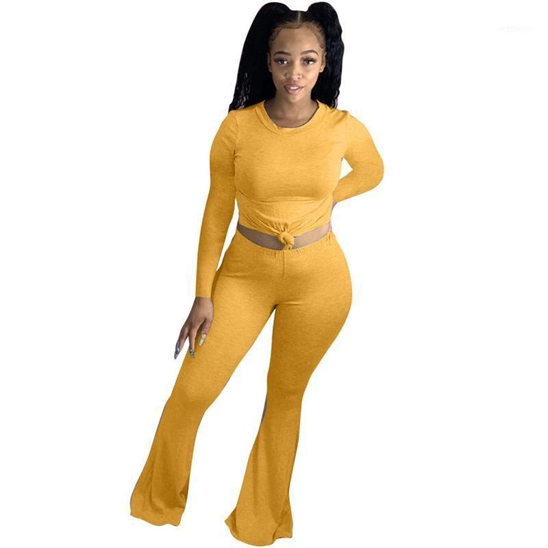 Женщины сплошные два частя набор с длинным рукавом Урожай и вспышка брюки Установить высокую талию плюс размер одежды для женщин трексуит 2 шт.