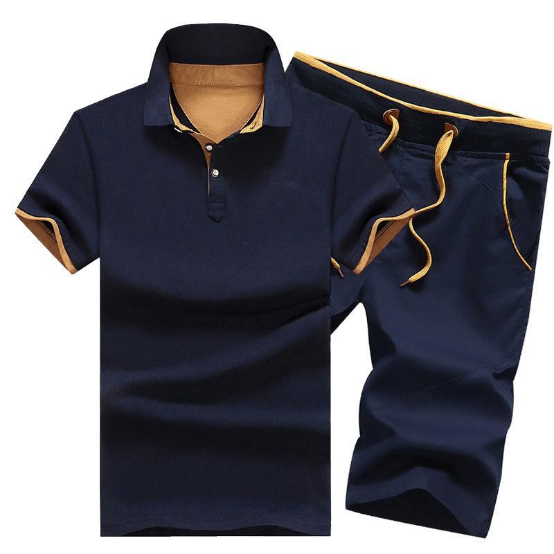 Трек костюм Мужчины Тонкий поло рубашка + шорты Set Повседневный Твердые Tracksuit Муж Досуг для мужчин Верхняя и Пант костюм Пот костюмы мужчин Q1110