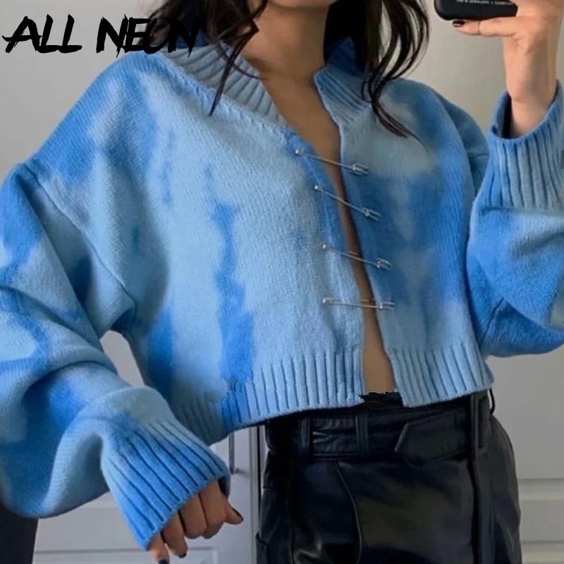 Allneon Harajuku Oversized Tie Dye Brooches con scollo a V Raccolto Autunno Y2K Fashion Batwing Sleeve Maglia Cardigans Streetwear Y200915