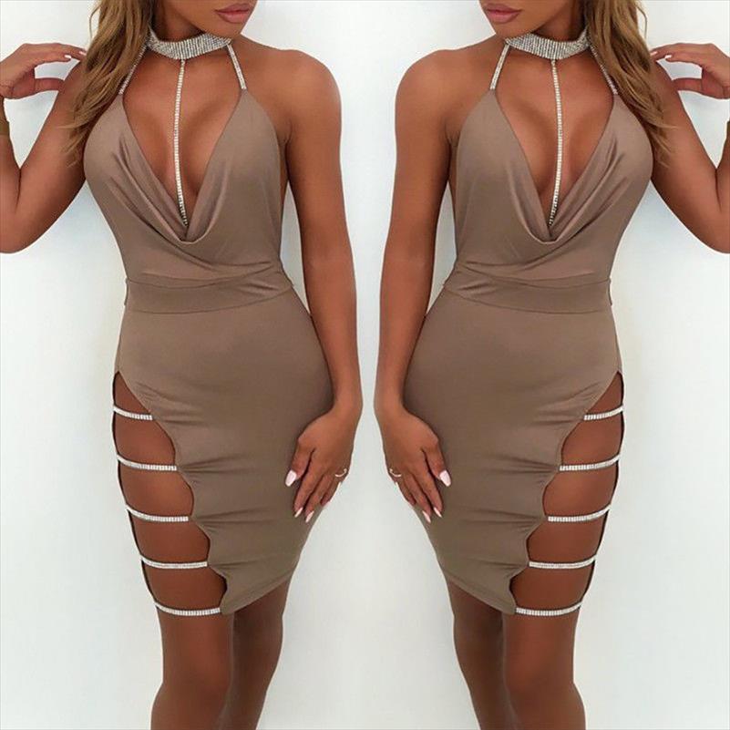 2021 Sexy novo verão womens bandage oco out profunda v pescoço noite festa curta mini vestido venda quente