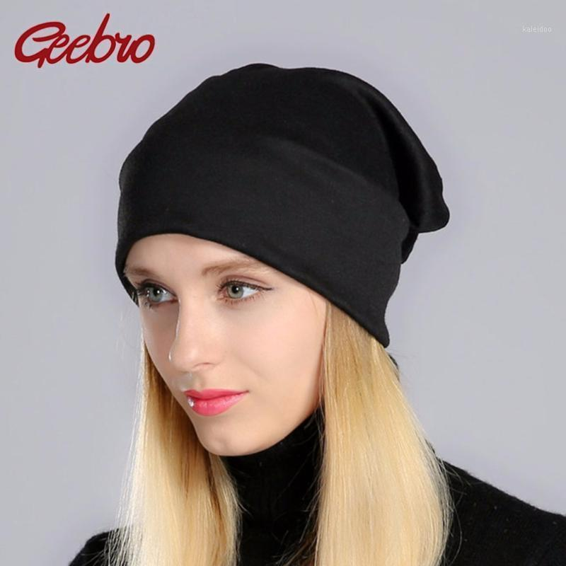 Шапочки / черепные шапки Geebro Spring Женские шапки шапки равнины цвета женские вязаные костные шляпа для девочек женские кепки js2931