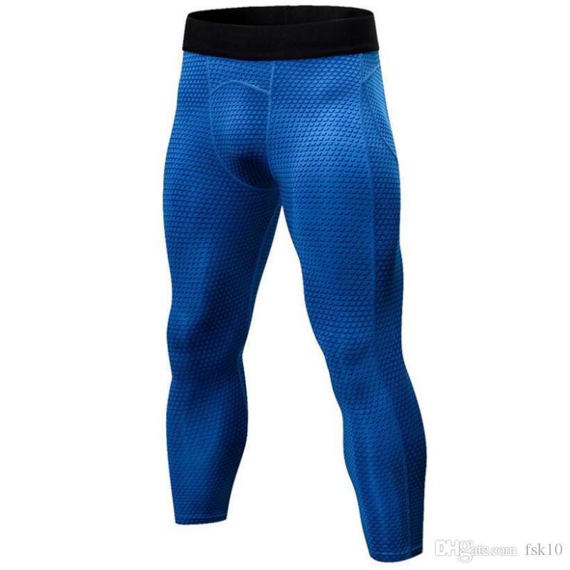 Homens 3/4 Esporte meias coloridas corredor da ginástica justas de pele de compressão das calças yoga fitness treinamento de basquete Leggings apertadas