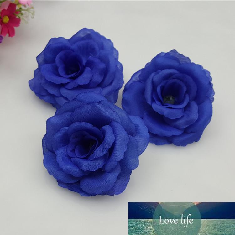 Nouveaux 10 pcs / lot 8cm bleu artificiel de soie artificielle rose tête de tête pour mariage fête de Noël DIY décoration accessoires 17 couleurs peut mélanger