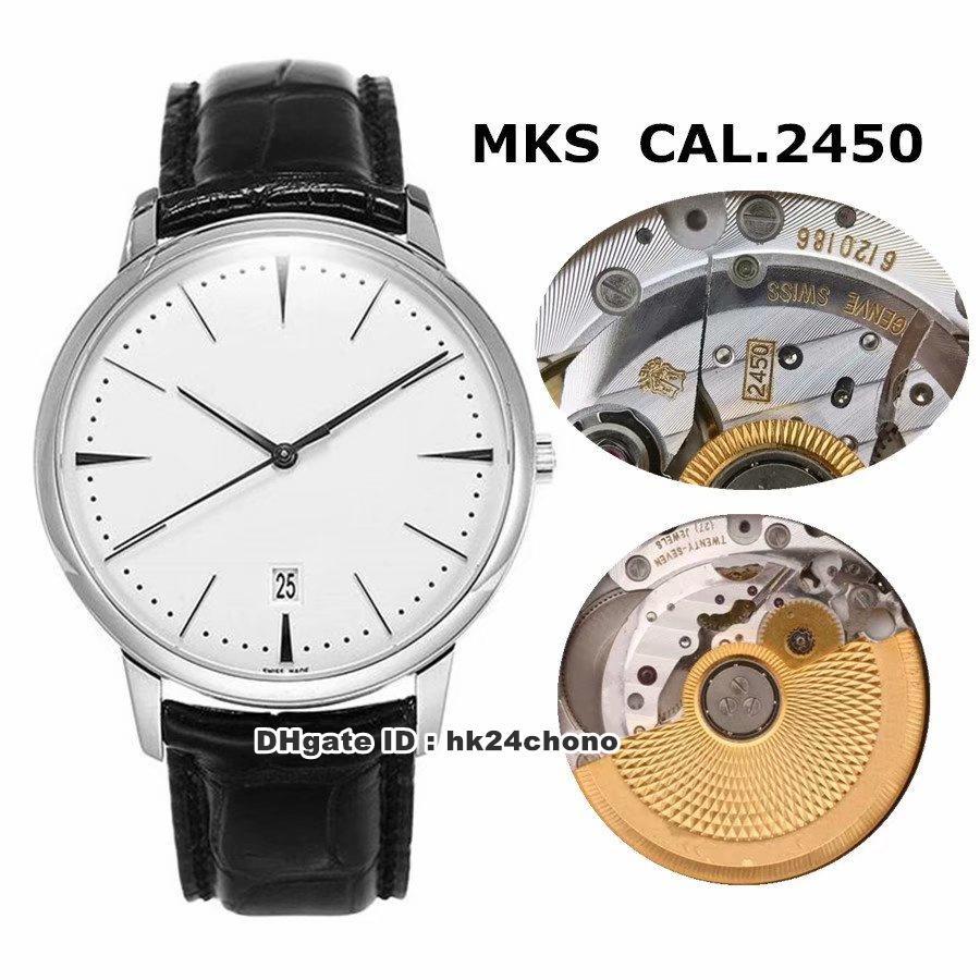 Correa 3 Estilo Top mejor reloj Patrimonio Contemporaine acero CAL.2450 automática del reloj para hombre 85180 Dial de plata del cuero caballero Relojes