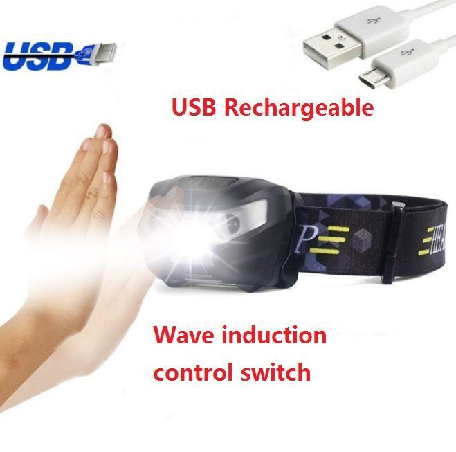 LED Corpo Motion Sensor Headlamp Mini Farol USB Recarregável Ao Ar Livre Camping Ciclismo Running Sports Lanterna Cabeça Lâmpada Luminária