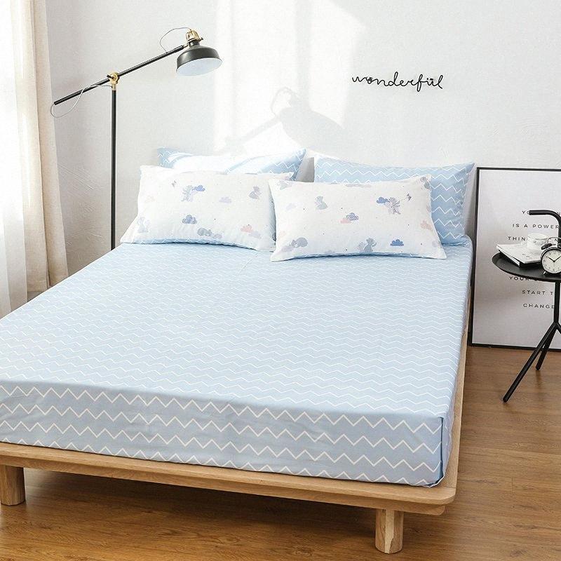100% algodón Ins aire fresco Impresión Estilo funda nórdica hoja de cama de la funda de almohada Inicio del lecho de la reina Rey # 638 # Sg1V