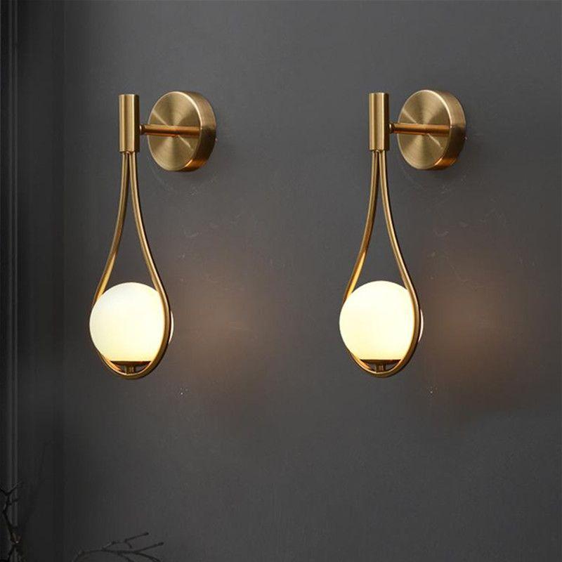 led wall light Gold Color white glass shade G9 bedroom Bedside Restaurant Aisle Wall Sconce modern bathroom indoor lighting fixtures-L