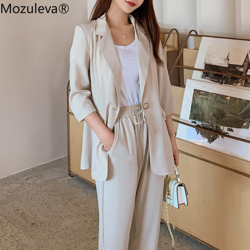 Mozuleva Summer Women 2 Pieces Set Casual Single Button Blazer Jacket & Elastic Waist Pant Female Blazer Pant Suit 201009