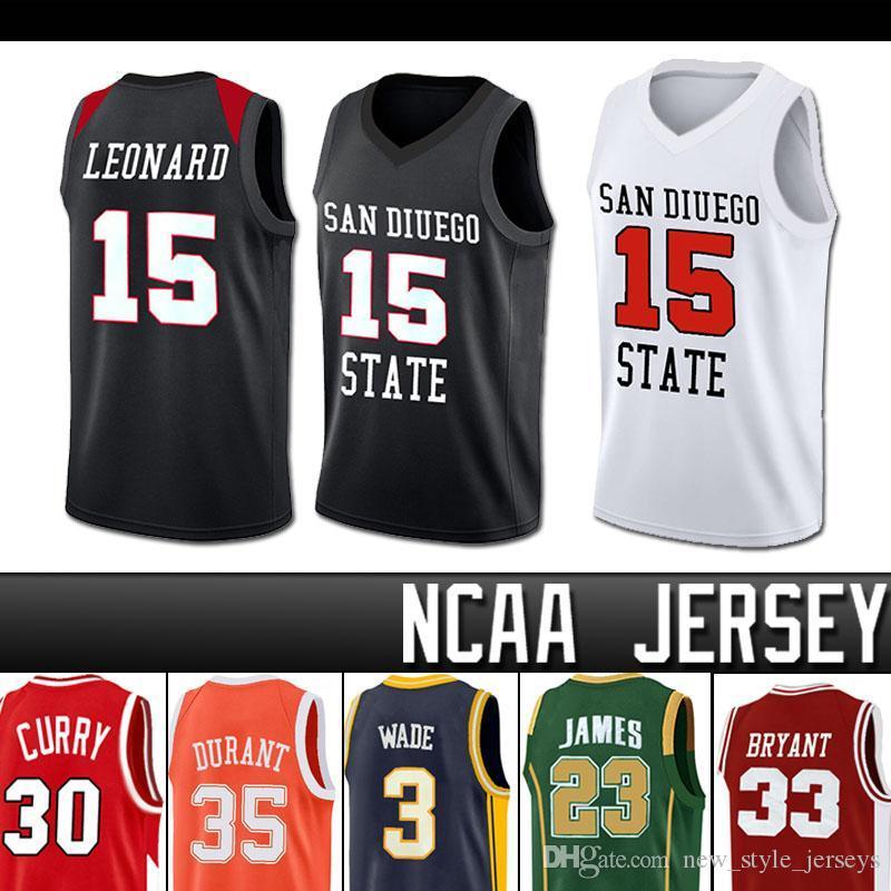 NCAA San Diego State Aztecs 15 Kawhi # Leonard Dwyane Lebron Wade James Iverson College Basketball Jersey Michael