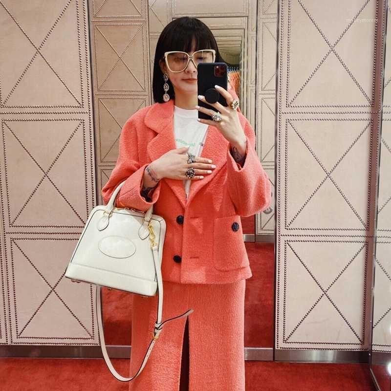 2020 Luxury Italian Design Autunno Raccolta di alta qualità Trim Tweed 100% lana Soggetti di grandi dimensioni Peach Single Luned Blazer1