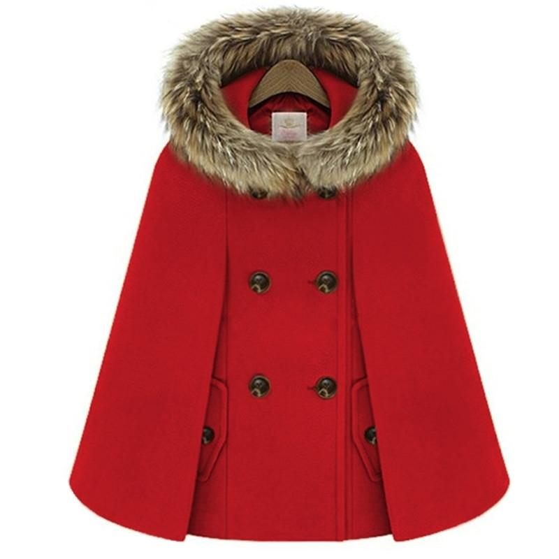 Herbst Winter Zweireiher Umhang Cape Wollmantel Frauen Rot Pelz Mit Kapuze Tweed Poncho Dicke Warme Batwing Hülse Lose Outwear LJ201109