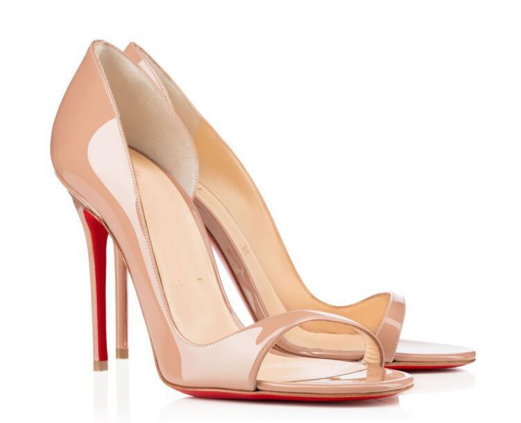 2021S / S Kadın Sandalet Kırmızı Alt Toboggan Patent Deri Yüksek Topuklu Parti Düğün Bridals Yüksek Kaliteli Yaz Bayanlar Sandalet EU35-43