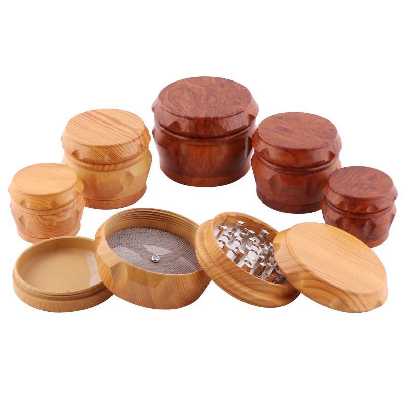 Rauchen Zubehör Holz Trommelschleifer Holz Kräutermühlen 2 Typ 40mm / 50mm / 63mm 4 Schichten Tabak