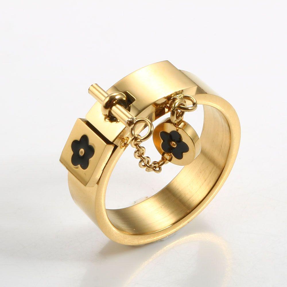 Fashion Flower Charm com anel de cadeia de ouro / lenço de aço inoxidável amor prometa anéis de dedo para mulheres homens jóias