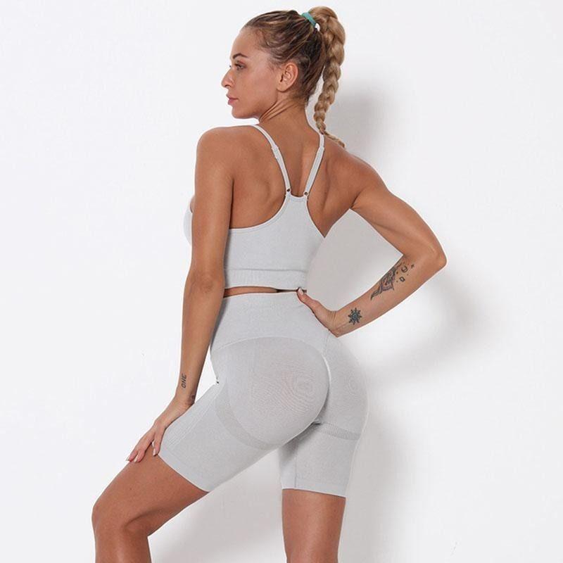 Frauen Fahrräder 2021 Yoga Set Frauen BH Sleeveless Tanks Shorts Anzug Für Fitness Gym Sportswear Sommer Sport Biker Shorts Set Kostenloser Versand