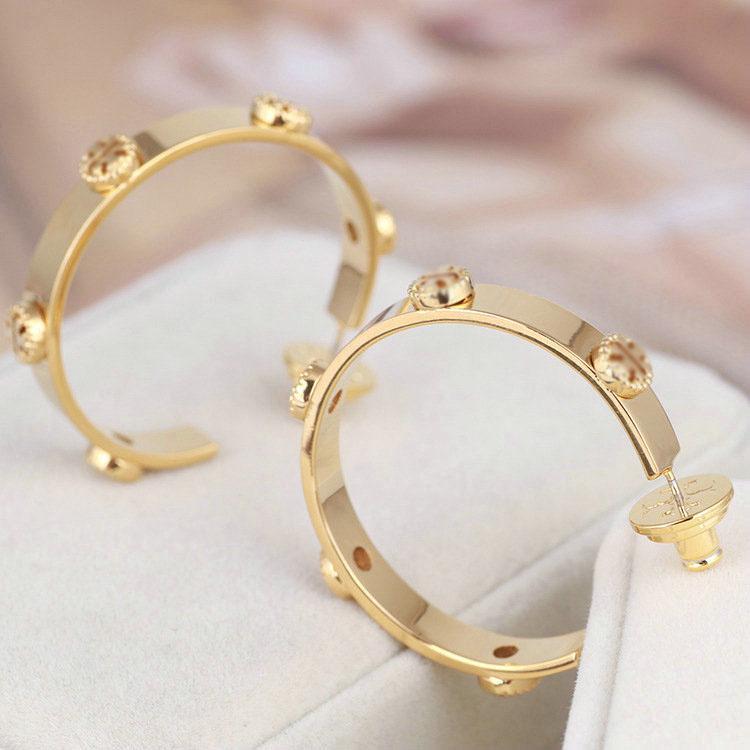 Orecchini Huggie Gold Huggie Brand Gold Button Moda Vendita Calda Orecchini Real 18K placcato oro