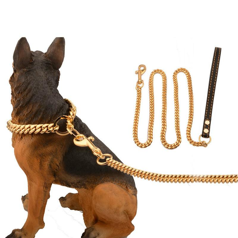 Metal Stainless Steel Pet Dog Gold Collar Lead Super Outdoor Big Dog Training Chain Collar Decor Necklace For All Dogs 10E Y200515