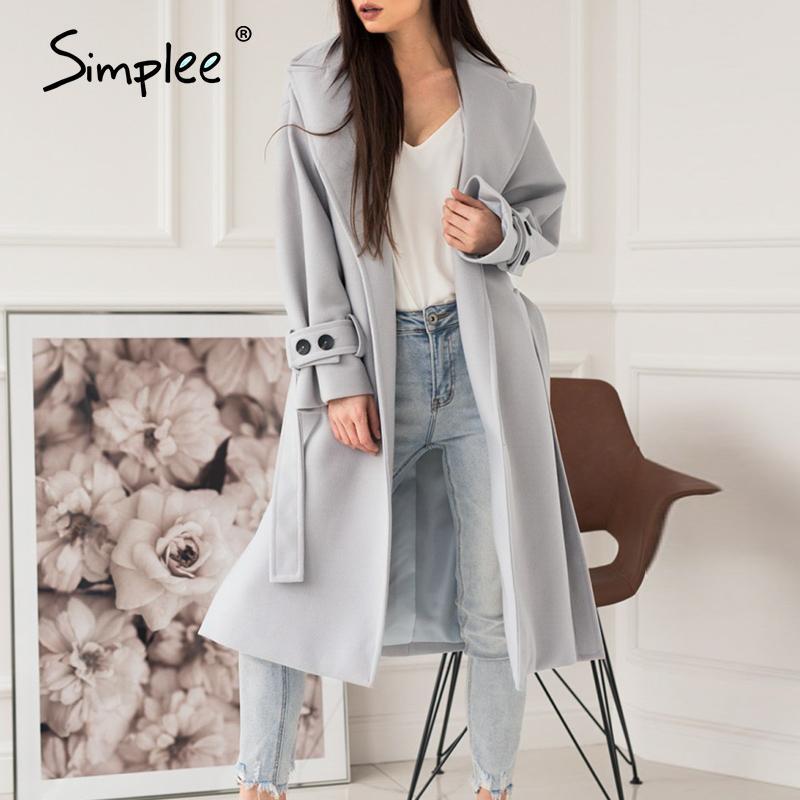 Simplee elegante grigio chiaro autunno inverno femminile lungo cappotto di lana Ufficio signore miscela cappotto causale giacca cappotto di moda tasca 201009