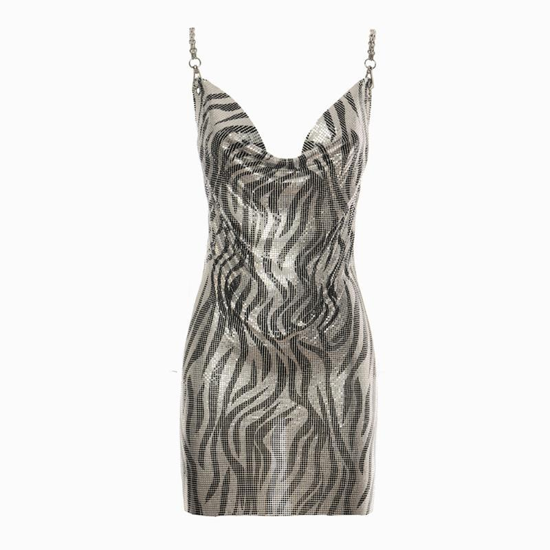 Холтер металла Коктейль праздник платье Sexy Backless Ночной музыкальный фестиваль показать Змея печати платье партии женщин Clubwear