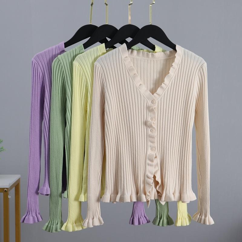 BYGOUBY Осень Новые кнопки Ruffled Женщины Cardigans Мода Тонкий леди вязаный свитер с длинным рукавом V шеи джемпер свитер 201017
