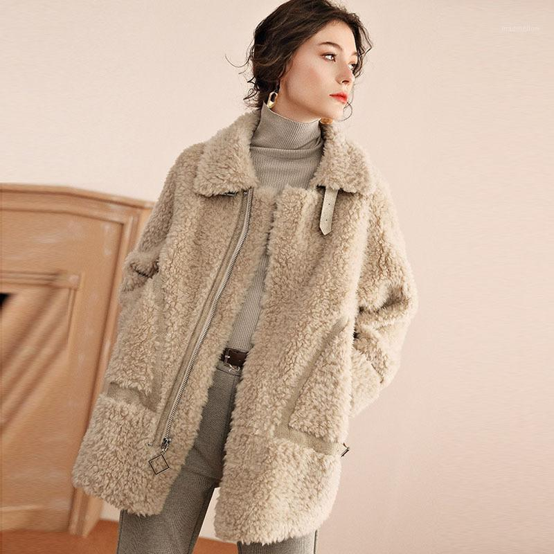 Zoulv invierno nueva chaqueta de vellón granular mujeres cordero pelo luz de lujo piel de longitud media una oveja cizallamiento de moda capa mujer1