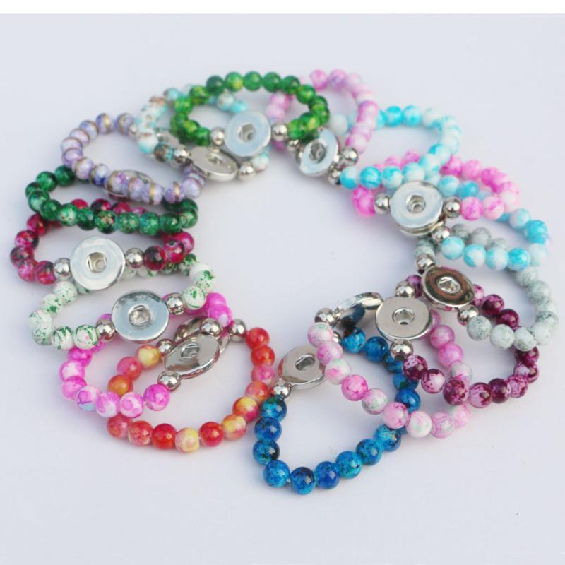16colors zu wählen! 12st Kinder Armbänder Bunte 8mm Glasperlen 18mm Diy Verschluss-Knopf-Armbänder Länge 15 cm für Kinder