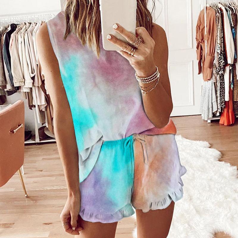 Men's Sleepwear Summer Womens Tie Dye Printed Leopard Short Pajamas Set Sleeveless Casual Loungewear Nightwear Women Clothing1