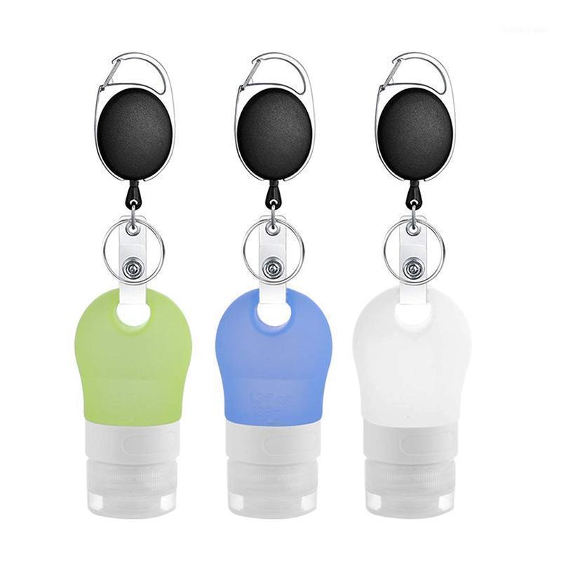 Ensemble de bouteilles de voyages de gel de silice portable de porte-clés, peut être rempli à plusieurs reprises, extrudé, utilisé pour des articles de toilette, Shampooing1