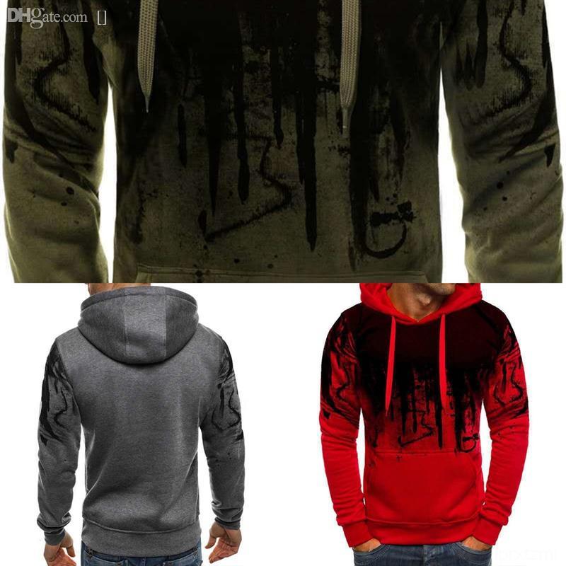 6aWNg Men's creative harajuku clothes sweater men Splash ink crewnecks man s dener sweater face print figure shirts oversize Korean