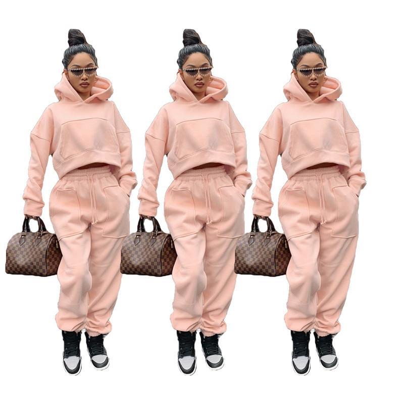 Winter Women Tracksuits Fashion Loose Solid Color Long Sleeve Fleece Two Piece Pants Set Autumn Women Designers Clothes