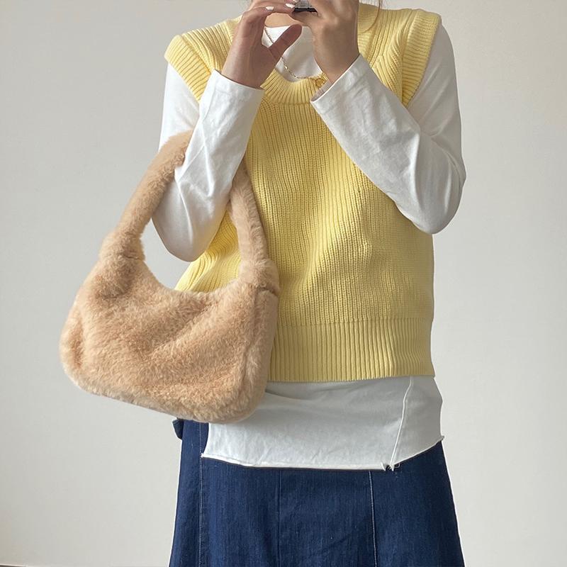 Bolsos de la moda de la moda de la axila de la axila de la pelusa suave para los bolsos de imitación para las mujeres bolsas de las mujeres del invierno Lindas de la moneda de las señoras de las señoras del invierno femenino Pequeño PVPJF Bolsa Hombro HCICJ