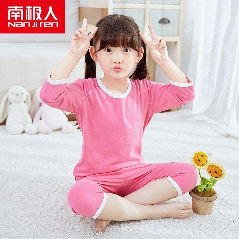 NANJIREN Summer Girls Pigiama Imposta Pantaloncini dormono insieme neonate vestiti di colore solido Pajama Set bambini del cotone Pigiama Ragazzi Xmas Voen #