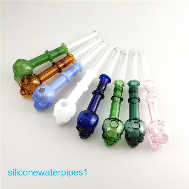 Tuyau de brûleur d'huile de verre pour eau bangs fumant verre coloré crâne huile de brûleur eau pipes bangs dab plated livraison gratuite