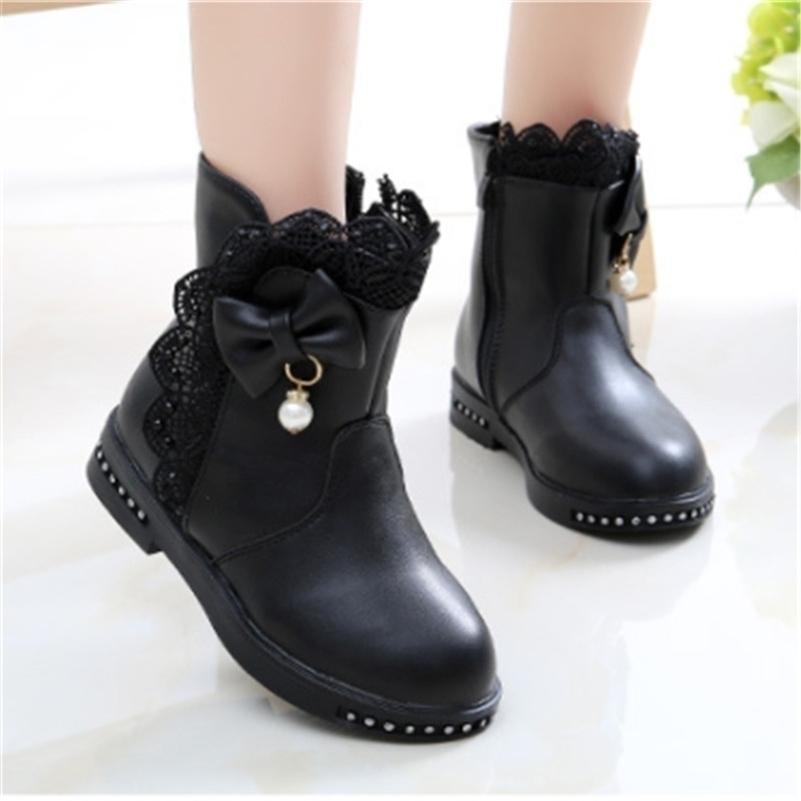 Девушка сапоги лодыжки искусственная кожа хорошие теплые детские ботинки для девочек принцесса маленькие дети зимние обуви размер 27-37 Tenis Infantil 201222