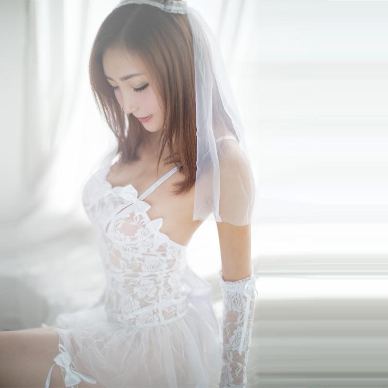 Érotique porno pour les femmes cosplay blanc robe de mariée mariage uniforme Hot Lingerie Sexy Tentation Costumes Sous-vêtements