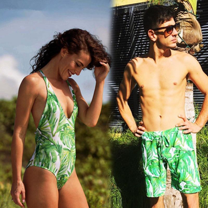Parejas de traje de baño mujer de una pieza bikini monokini vendaje hombre natación pantalones traje de baño prendas de playa bañarse1