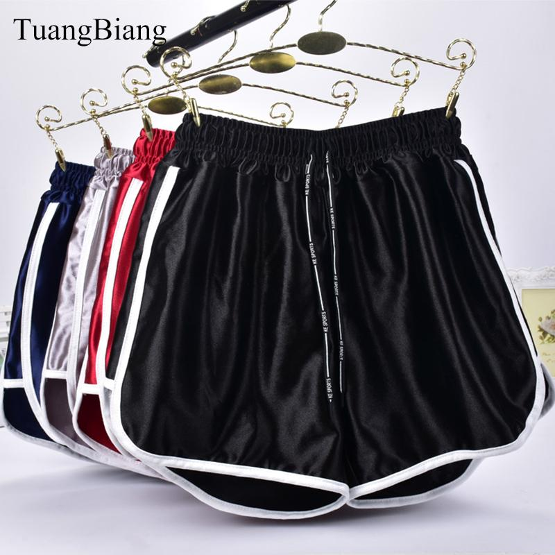 Jogger gestreift Sport Workout Shorts Damen Lose Lace Up Womens Elastische Taille Shorts Sommer Frühling Patchwork Gym Sport athletische Shorts Y1217