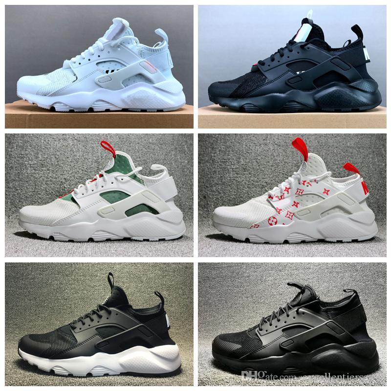 Nouveau Huarache 4.0 Ultra Run IV Classical Triple Triple Black Noir Rouge Shoes de course pour Mens Femmes Huaraches Sneaker Sneaker Taille 36-45