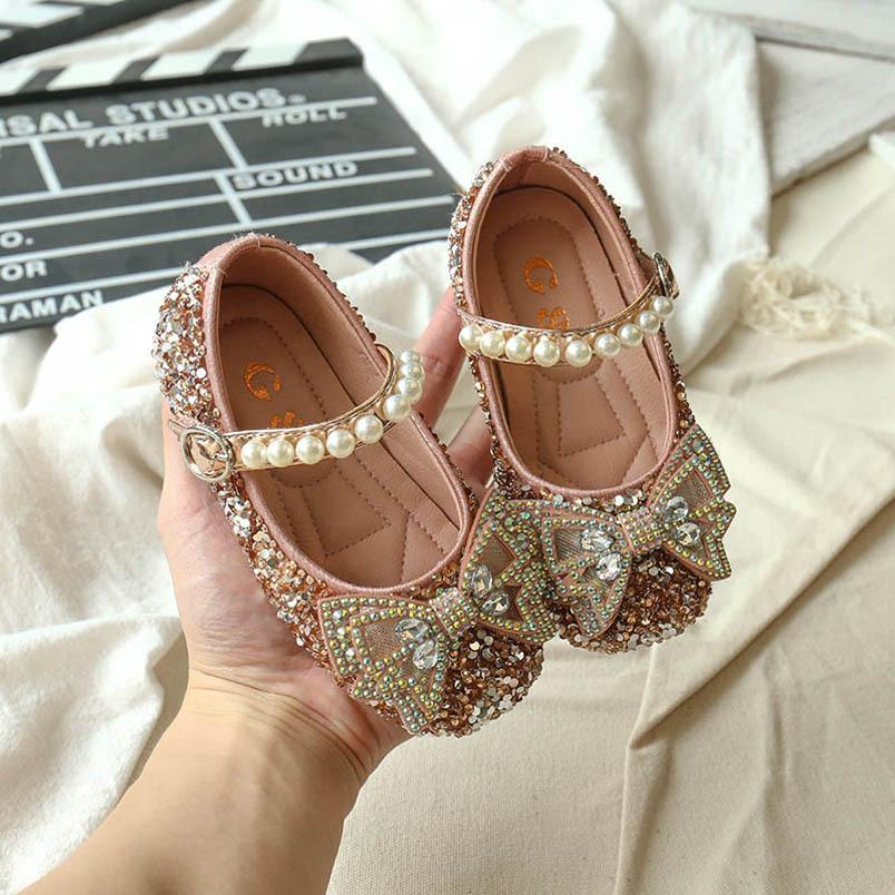 Fashion Retail Pearl Baby Girl Chaussures Princesse Cristal Toddler Chaussures Baby Chaussures Boutique Filles Robe Chaussure Baby cadeau Girls Wear B1883