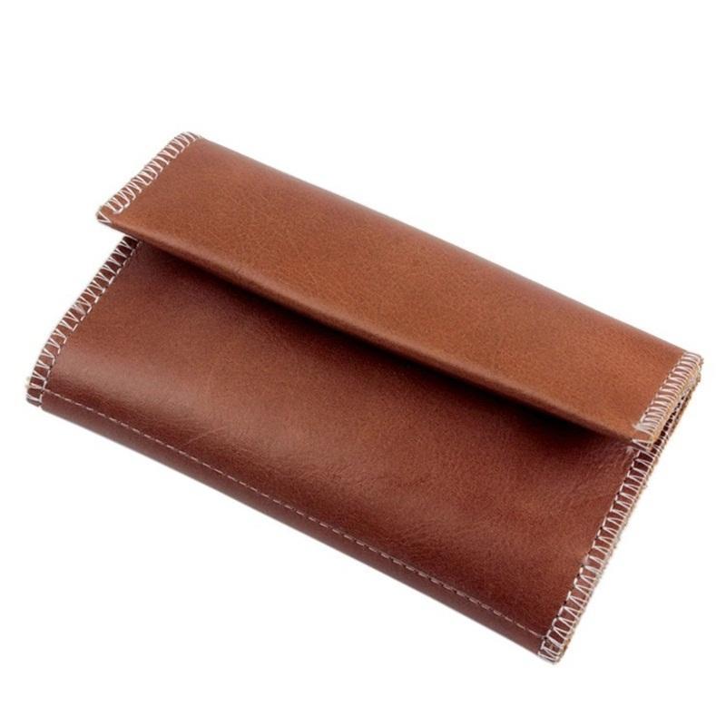Borsa da fumo morbido imitazione in pelle di chiusura in pelle portafoglio uomo tre strati bottoni odore borse a prova di profondo colore nero Brown8 5JJ C2