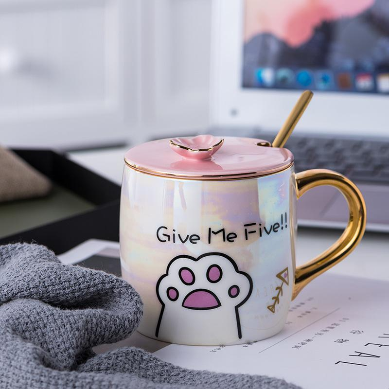taza de cerámica preciosa patrón de la pata del gato desayuno leche cupCoffee taza de jugo de San Valentín regalo de la taza utensi Ocio taza de la marca de agua de la cocina