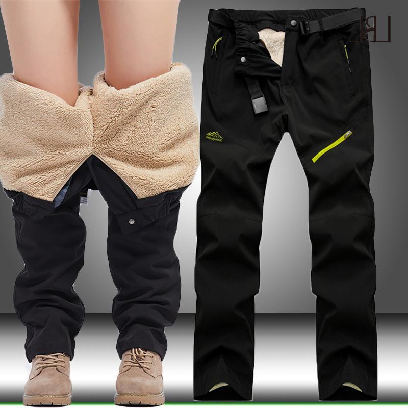 Los hombres de invierno Senderismo Trekking acampa de la pesca subida masculino caliente Fleece Pantalones Softshell deportes al aire libre gruesos pantalones impermeables