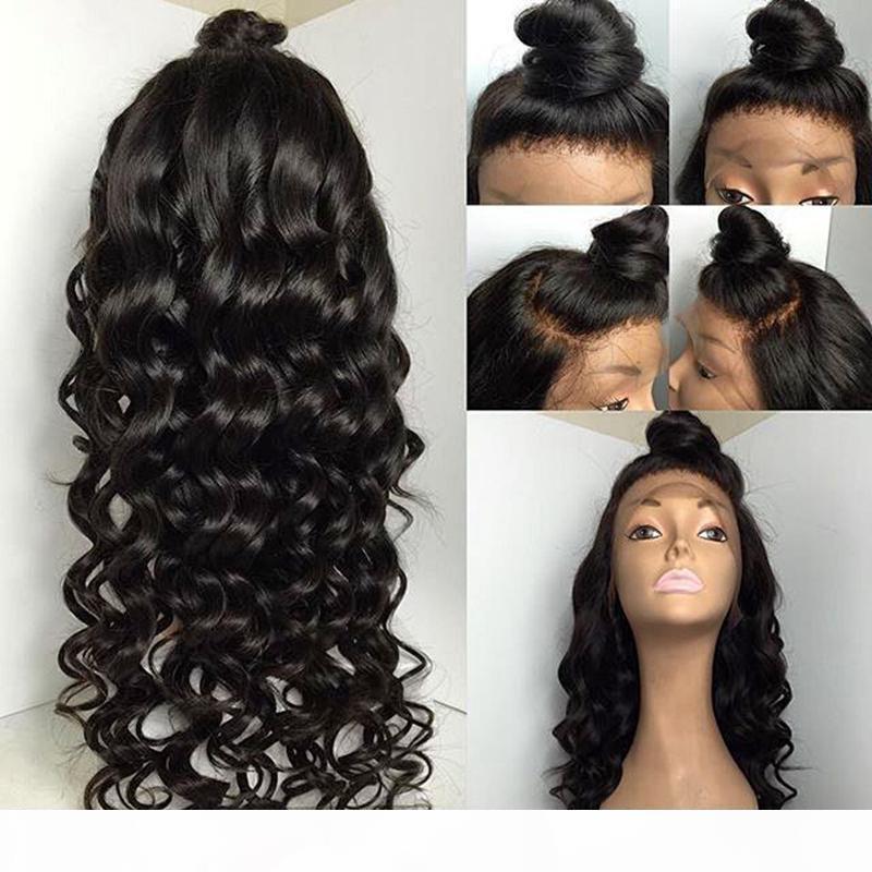 Свободная часть Natural Волосного бесклеевой полные парики шнурка с волосами младенца вокруг тела способа Волнистого фронта шнурка для чернокожих женщин