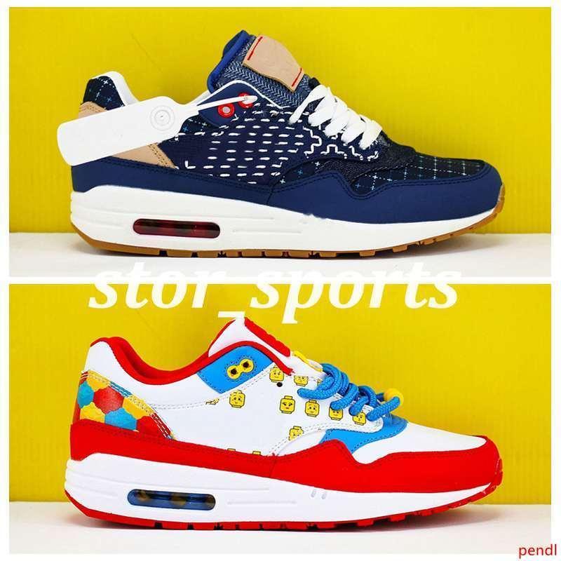 2020 x DENHAM para mujer para hombre de los zapatos corrientes Max1 1s Azul Azul-costera Vachetta Tan-Vela Diseñador Deporte Vacío / Atlética zapatillas de deporte 36-45 Eur