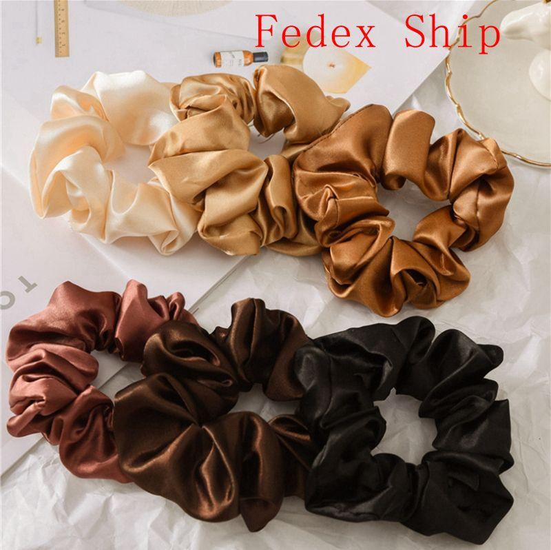 Scrunch Hairbands Fascia per capelli solidi Fascia per capelli in raso GRANDE Intestini Capelli Ties Corde Ragazze Ponytail Supporto Accessori per capelli 6 Designs 120pcs DW4259